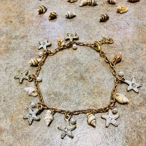 Gold Tone Starfish and Shell Ankle Bracelet
